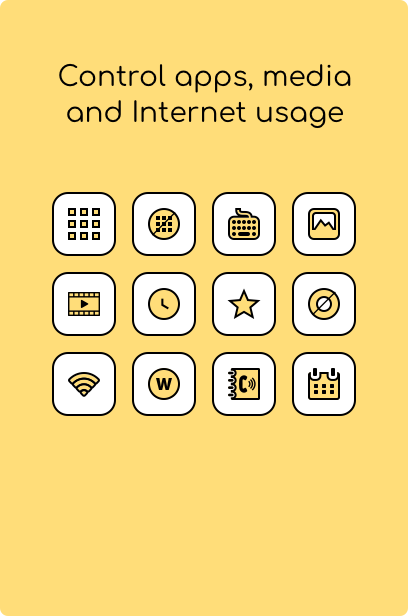 Control apps, media and internet usage - Kidsecured